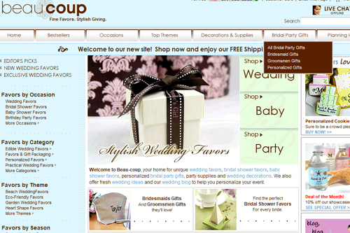 Beau-coup.com wedding favors