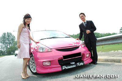 hello kitty wedding car
