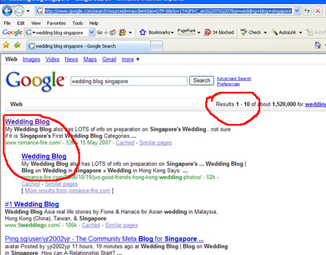 Google Search for My Wedding Blog